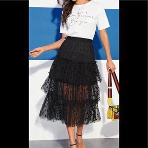 Sheer Mesh Tiered Overlay Frill Detail Skirt